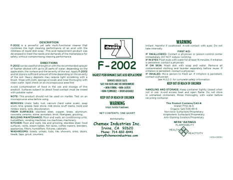 F-2002 Removes Hard Water Scale, acid replacement cleaner