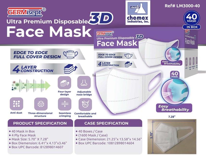 3D Mask 4 Layer Chemex stretchy elastic