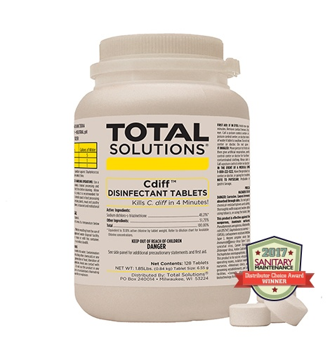 Cdiff Disinfectant Tablets, kills c difficile in four minutes,