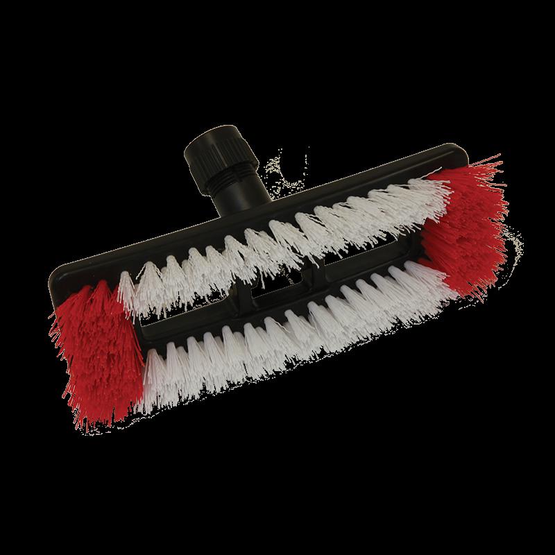 Deck scrub brush swivels to clean floors