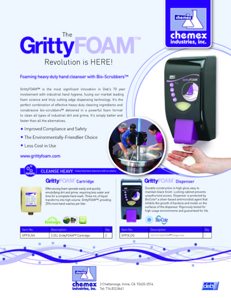 Gritty foam industrial hand cleaner
