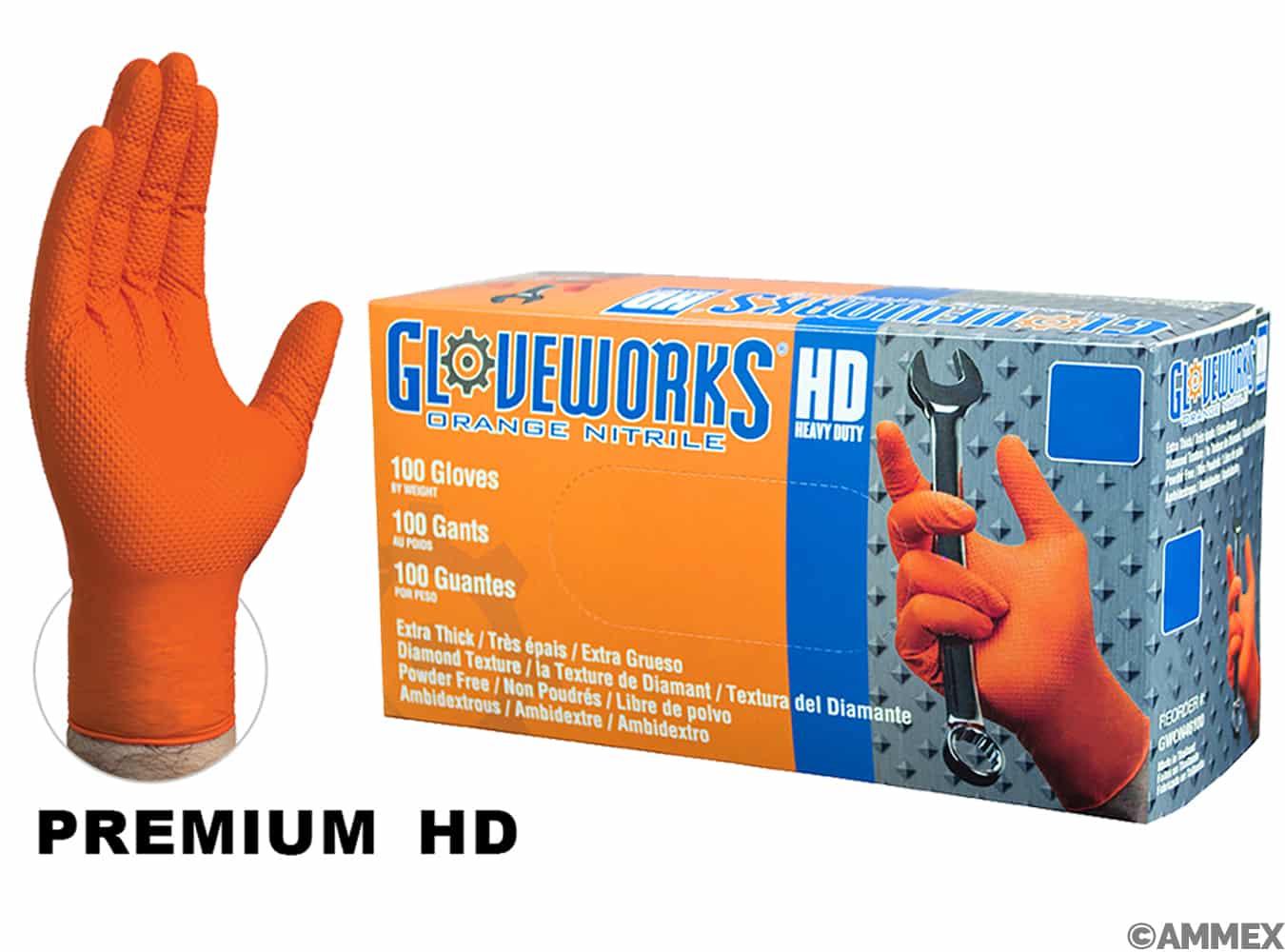 Orange Nitrile PF Industrial Gloves, diamond grip