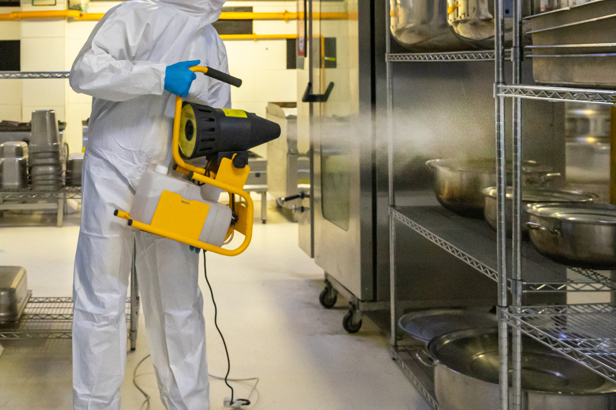 Spraying Disinfectant for COVID-19