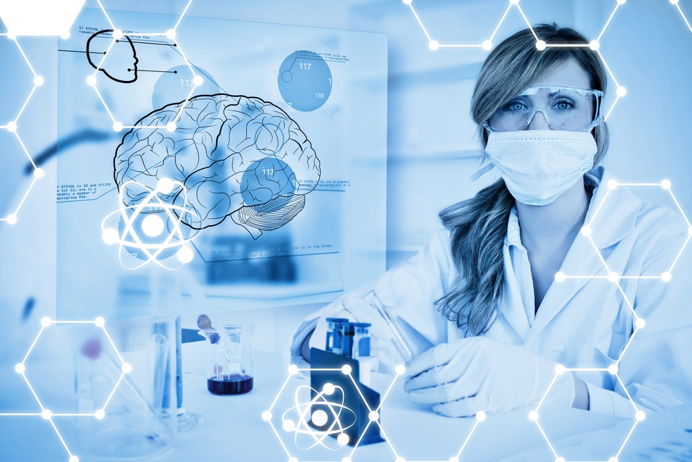 Science graphic against chemist working in protective suit with futuristic interface showing a brain.jpeg
