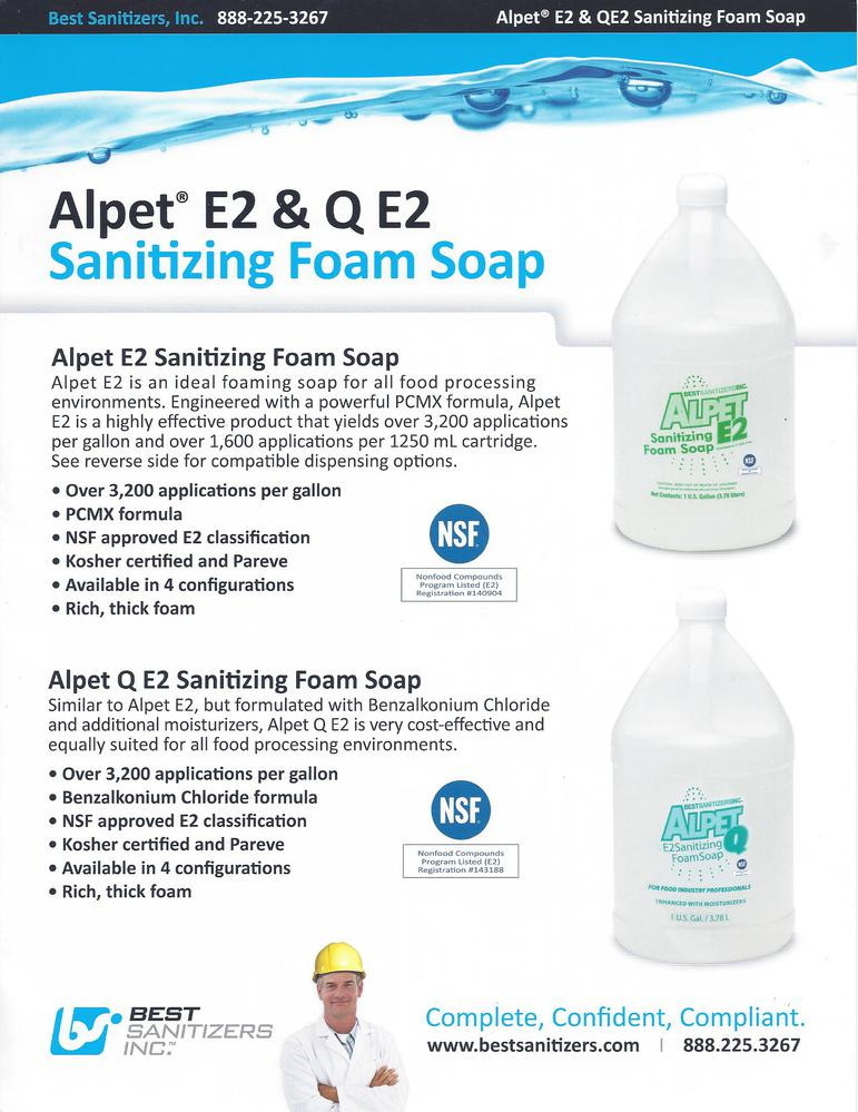 alpet e2 and q e2 sanitizing foam soap