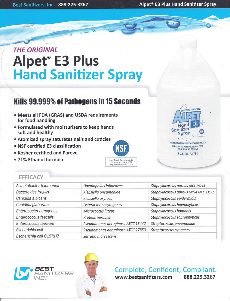 alpet e3 hand sanitizer spray