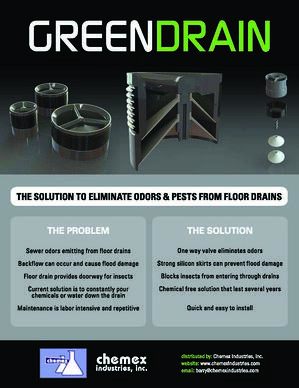 green drain, prevent odors and insects from floor drains