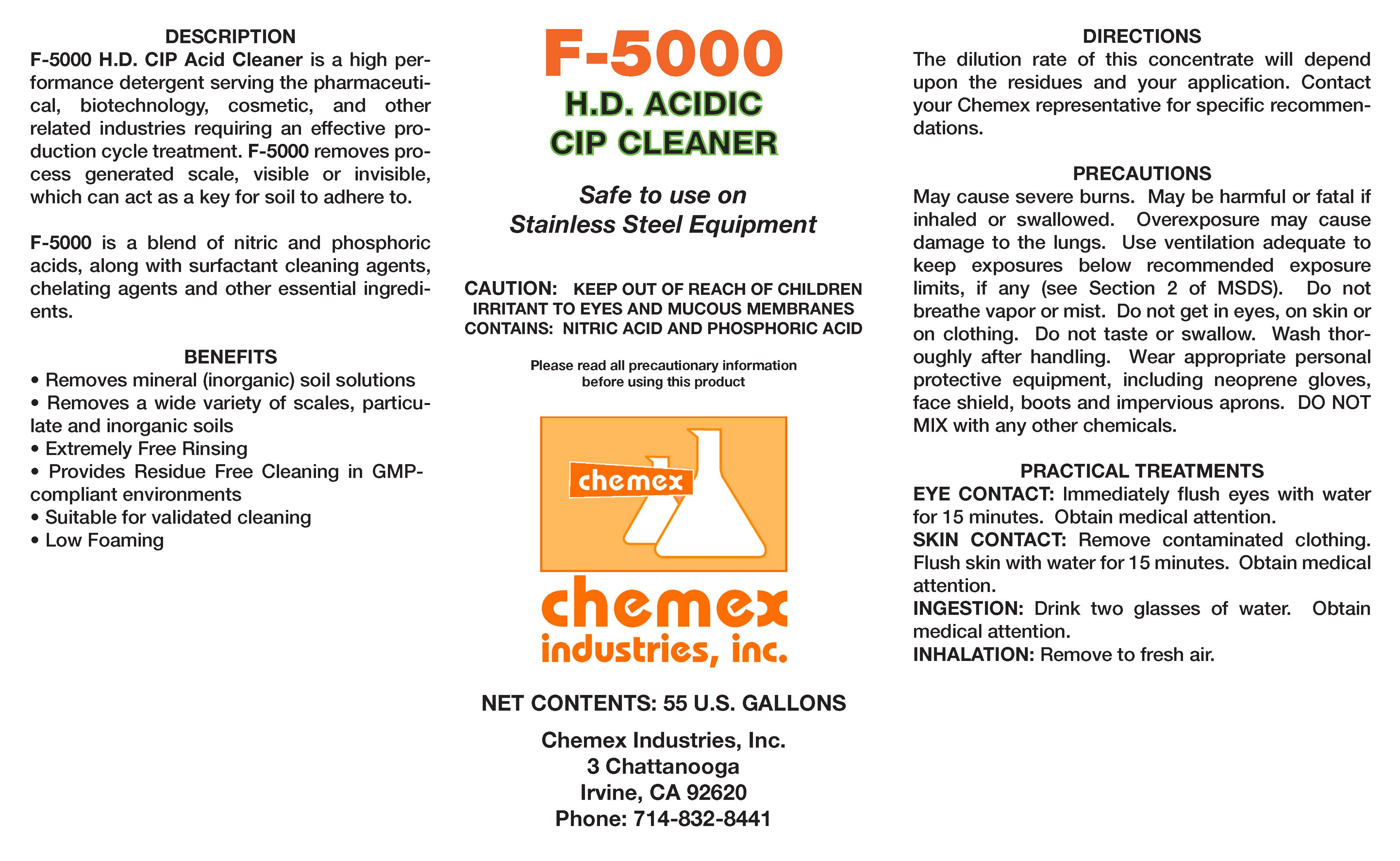 f5000 hd cip acid cleaner