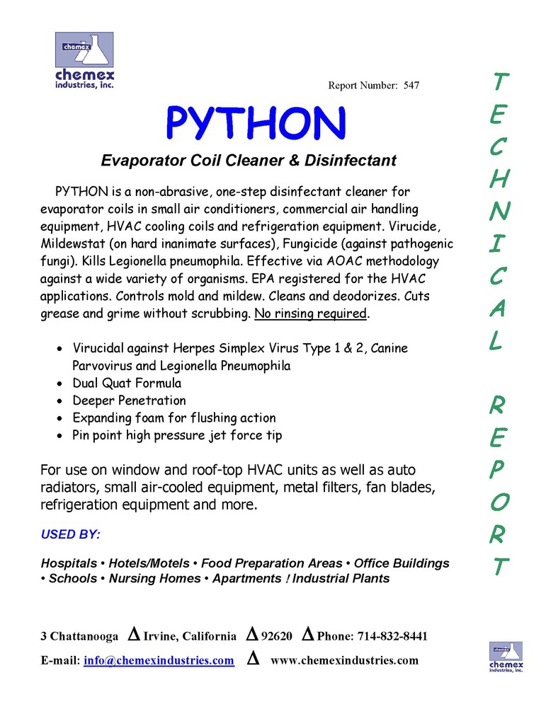 python evaporator coil cleaner disinfectant