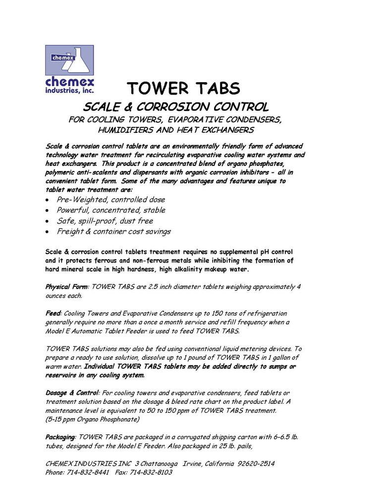 tower tabs chemicator crystals